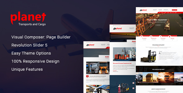 خرید قالب Planet – Logistics, Cargo, Transport & Shipping Company WordPress Theme
